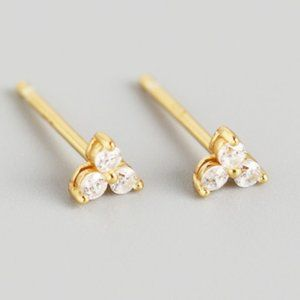 Tiny 3 Stone Trio Triangle Cluster Stud Earrings